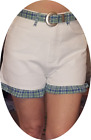L.A. Blues - White Cotton Shorts w Blue/Green Plaid Trim & Belt - New With Tags