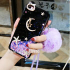 Dynamic Liquid Glitter moon star Quicksand Soft back Case Cover + neck strap #A