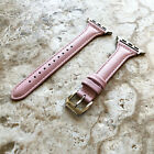 Pink Slim Elegant Leather Band for 38mm 40mm 42mm 44mm Apple Watch 1 2 3 4