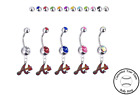 Atlanta Braves Style 2 Silver Belly Button Navel Ring - Customize Gem Color NEW on Ebay
