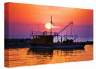Fishing Boat  Harbour at Sunset  Seascape Canvas Wall Art Picture Print