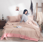 2019 Solid Thin Cotton Blend Soft Quilt Sheets 2 Pillowcases 4 Pcs Suits jwk