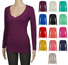 Women's JUNIOR Basic Deep V-Neck Long Sleeve Sweater Material Top  S ~ L