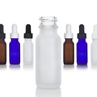 .5 oz / 15 ml Frosted Glass Boston Round Bottle - Choose Color, Closure, & Pack