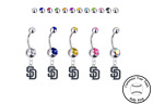 San Diego Padres Silver Belly Button Navel Ring - Customize Gem Color - NEW on Ebay