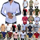 Mens Dress Shirt Long Short Sleeve Casual Summer Muscle Slim Fit T-shirt Top Tee image