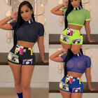 Women Summer 2Piece Set Crop Top and Shorts Bodycon Outfit Short Sport Jumpsuit.