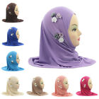 Kids Girls Muslim Hijab Islamic Arab Scarf Shawls With 6 Beautiful Flowers