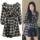 New Blackpink Jisoo Plaid Ruffle Romper Dress Kpop Kfashion Vneck