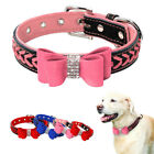 Braided Leather Dog Collar Soft Padded Studded Bowknot for Small Large Dogs Pet