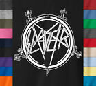 SLAYER T-Shirt Crossed Swords Logo Thrash Heavy Metal Rock Band Concert Tour Tee image