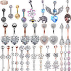 Flower Heart CZ Navel Belly Ring Surgical Steel Bar Button Ring Piercing 14G image