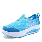 Woman Flat Platform Heels Sneakers Breathable Air Mesh Shoes Slip On Loafers