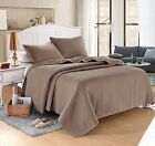 Taupe Brown Solid Color Hypoallergenic Quilt Coverlet Bedspread Twin Queen King image