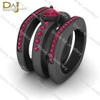 Rounded Square Squircle Rings Pink Ruby Engagement Ring Band Set Gun Metal Fn picture
