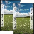 "Basic Poster Plastic Picture Frame 24"" x 36"" Rectangle Black Set of 2 Large"