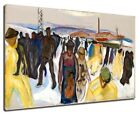 Edvard Munch - Workers Returning Home 1920 Poster Canvas Fine Art Print 53