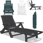 Folding Plastic Sun Lounger  Recliner Chair Seat W/ Footrest Outdoor Adjustable