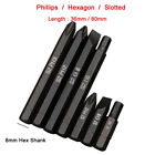 S2 Magnetic Impact Screwdriver Power Bits Phillips Slotted Hexagon 8mm Hex Shank