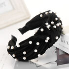 Women Girls Headband Pearl Beaded Wide Knot Headband Hair Bands Accessories