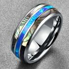 Kyпить 8mm Tungsten Ring with Abalone Shell Inlay Mens Wedding Ring Band Size 6-13 Gift на еВаy.соm