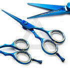 New Barber Saloon Hair Shear Hairdressing Scissor Finger Rest Blue Coated