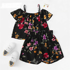 Girls Cute Black Red Purple Floral Print Cold Shoulder Ruffle Top And Shorts