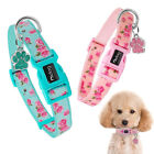 Personalised Nylon Dog Collar Cute Floral Pattern Engraved ID Tags S M L Yorkie