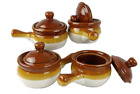 Individual French Onion Soup Crock Chili Bowls with Handles and Lids, Ceramic 17