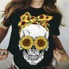 Funny Skull With Sunflower Eyes Ladies T-Shirt Cotton M-3XL