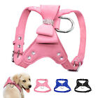 Suede Leather Dog Harness Bling Rhinestones Vest for Puppy Kitten Walking Yorkie