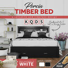 Solid Pine Timber Bed Frame Storage Shelf Drawers Single Double Queen King Black