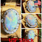 New Platinum Plated Opal Diamond Ring Party Jewelry Wedding Engagement Promise image