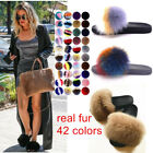 Women's Real Fox Fur Slippers Vogue Fluffy Fur Sandals Comfort Slides Flat Shoes