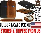 # SLIM PULL-UP & POCKET CARD GENUINE LEATHER CASE COVER SLEEVE POUCH FOR PHONES