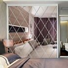 Home Diamond Spliced Mirror Stickers Self Adhesive Mirror Sheets Wall Decals Us