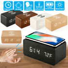 Modern Wooden Digital LED Table Desk Alarm Clock Thermometer Qi Wireless Charger