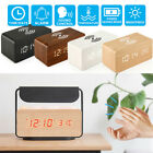 NEW Modern Wooden Wood Digital LED Alarm Clock Thermometer Qi Wireless Charger