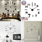 Modern DIY Large Wall Clock 3D Mirror Surface Sticker Big Number Watch Decor USA