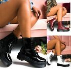 LADIES WOMENS ANKLE LACE UP PLATFORM CHUNKY GOTH PUNK ZIP ICON RETRO SHOES BOOTS