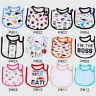 Baby Girl Boy Waterproof Cartoon Towel Apron Kids Toddler Dinner Feeding Bibs