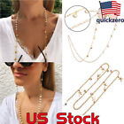 Hanging Neck Glasses Chain Starfish Shell Pearl Sunglasses Cord Necklace Holder image