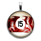 Number Fifteen #15 Pool Ball Key Ring Necklace Cufflinks Tie Clip Ring Earrings $16.95 USD on eBay