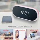 Portable Wireless Bluetooth Speaker With Alarm Clock Makeup Mirror Reading Lamp
