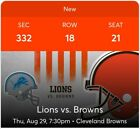 3 Tickets Detroit Lions vs. Cleveland Browns- Lake View Club Seats! on eBay