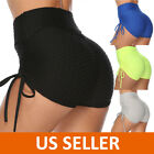 US Women Yoga Shorts Ruched Sports Gym Fitness Workout Butt Lift Hot Pants Sexy