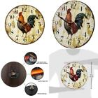 Skynature Home Wall Clock, Rooster Retro Style,Silent Non -Ticking Quartz Wooden