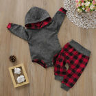 US Toddler Baby Boy Girl Kids Hooded Bodysuit Pants Autumn Winter Outfit Clothes