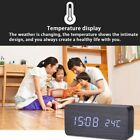 Wooden Alarm Clock LED Screen Display Time Voice Touch Control Digital Clock USA