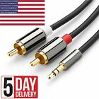 Male Jack to 2 RCA Male AUX Stereo Analog Audio Y Adapter Cable 3.5mm Cord USA